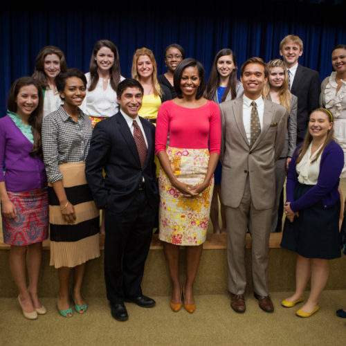 First Lady Michelle Obama joins White House interns for a group photo in the Eisenhower Executive Office Building South Court Auditorium, May 3, 2012. (Official White House Photo by Chuck Kennedy)  This photograph is provided by THE WHITE HOUSE as a courtesy and may be printed by the subject(s) in the photograph for personal use only. The photograph may not be manipulated in any way and may not otherwise be reproduced, disseminated or broadcast, without the written permission of the White House Photo Office. This photograph may not be used in any commercial or political materials, advertisements, emails, products, promotions that in any way suggests approval or endorsement of the President, the First Family, or the White House.