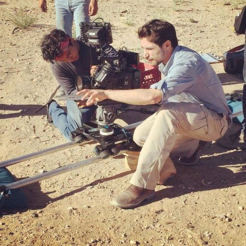 A dolly shot in the desert.